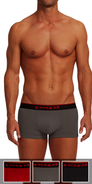 Papi 3-Pack Cotton Stretch Brazilian Solids In Red-Gray-Black