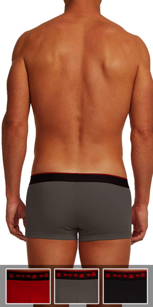 Papi 3-Pack Cotton Stretch Brazilian Solids Trunk In Red-Gray-Black