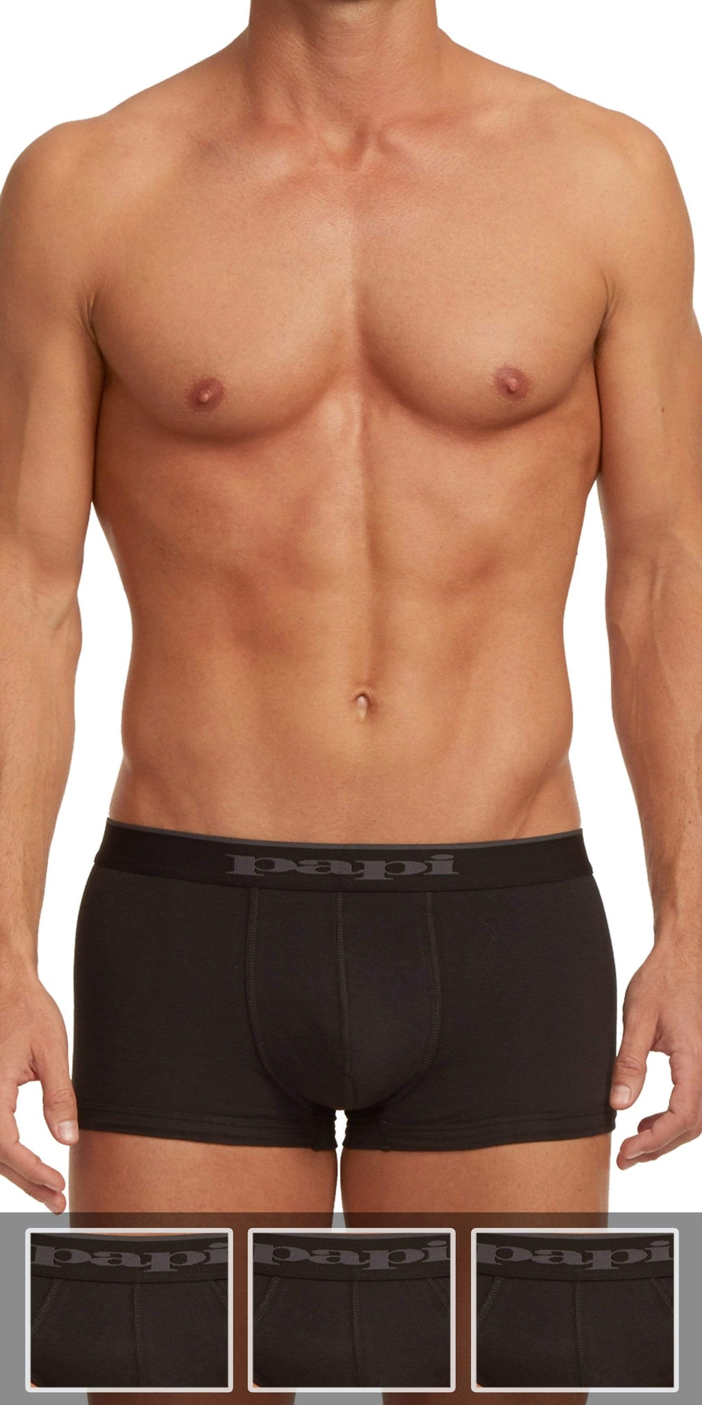 Papi 3-Pack Cotton Stretch Brazilian Solids Trunk In Black