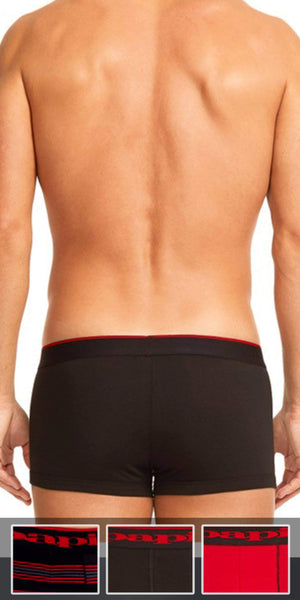 Papi 3-Pack Cotton Stretch Brazilian Yarndye Band Stripe Trunk In Red-Black