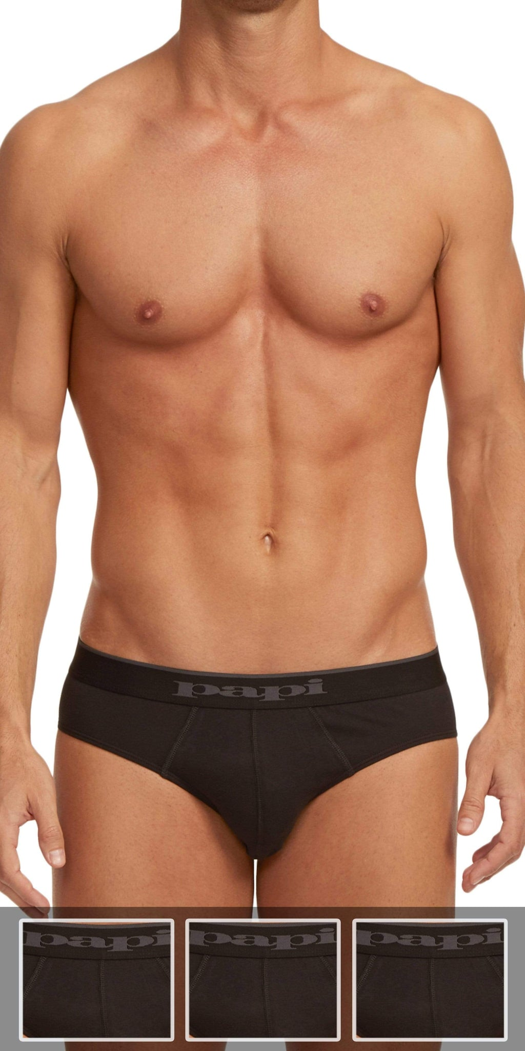Papi 3-Pack Cotton Stretch Brief In Black