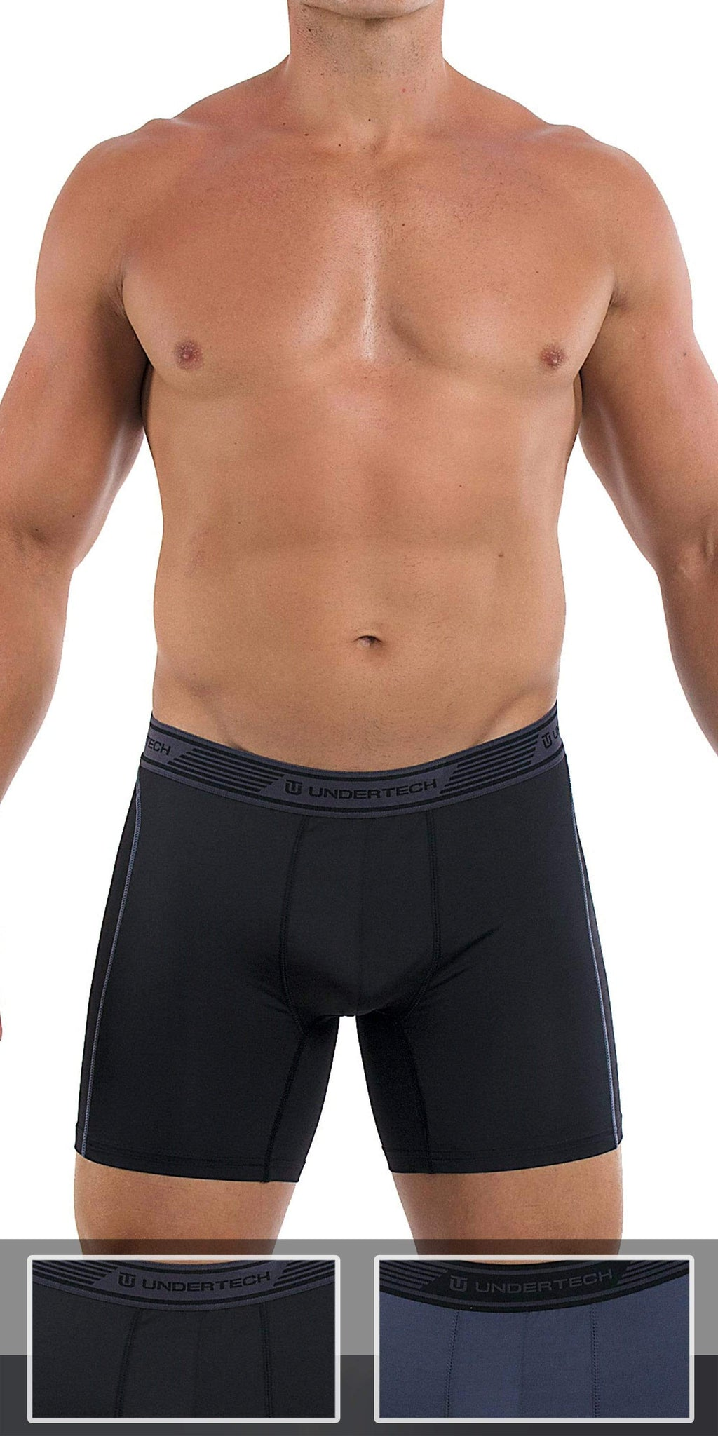 UNDERTECH 2-Pack Mesh Boxer Briefs In Black-Gray