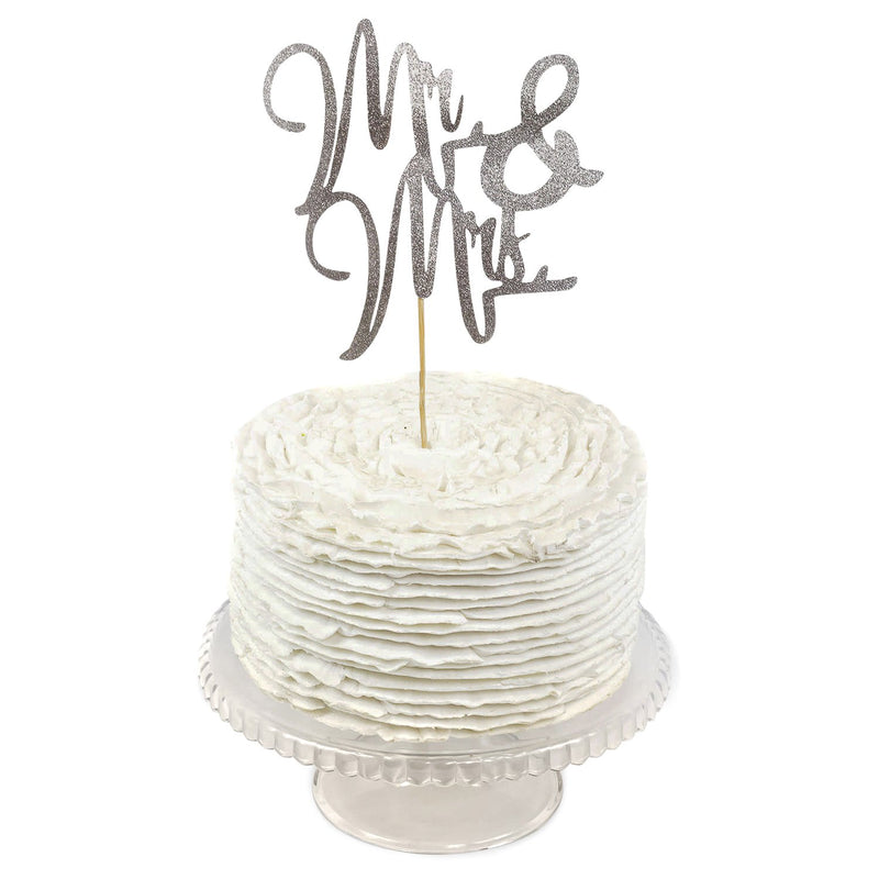 Silver 'Mr & Mrs' Cake Topper