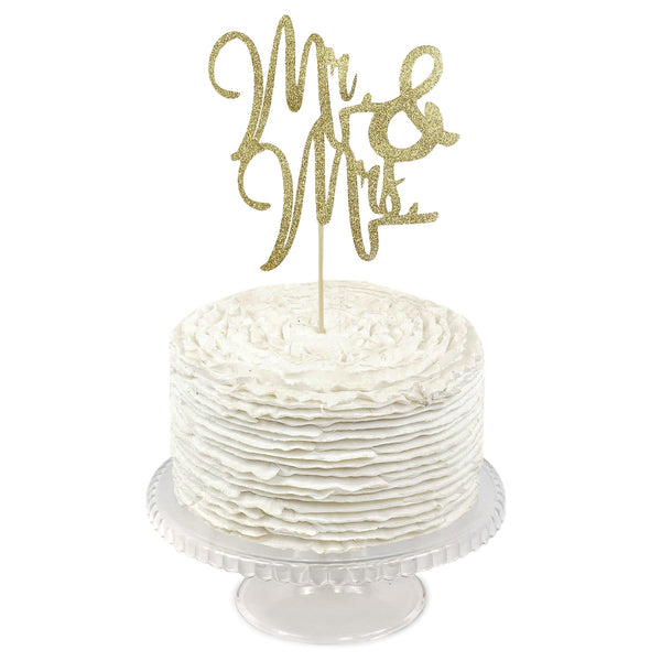 Gold Glitter  'Mr & Mrs'  Cake Topper, Cake & Cupcake Toppers, Jamboree
