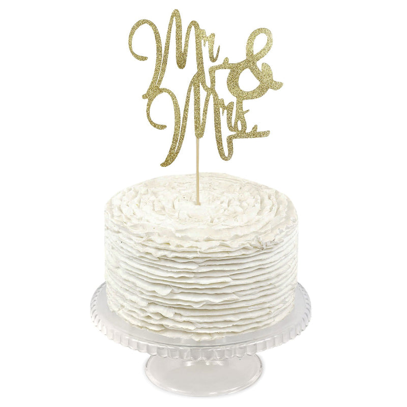 Gold Glitter  'Mr & Mrs'  Cake Topper