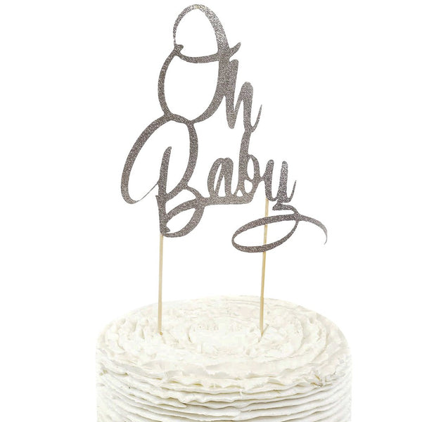 Silver Glitter 'Oh Baby' Cake Topper