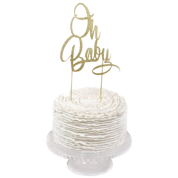 Gold Glitter 'Oh Baby' Cake Topper, Cake & Cupcake Toppers, Jamboree