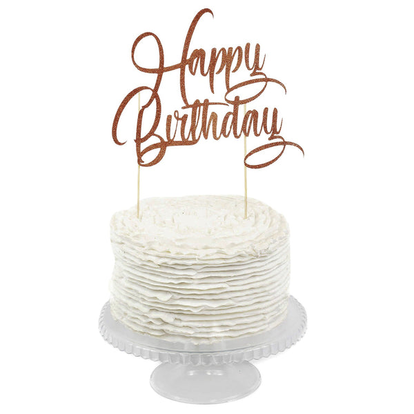 Rose Gold 'Happy Birthday' Cake Topper