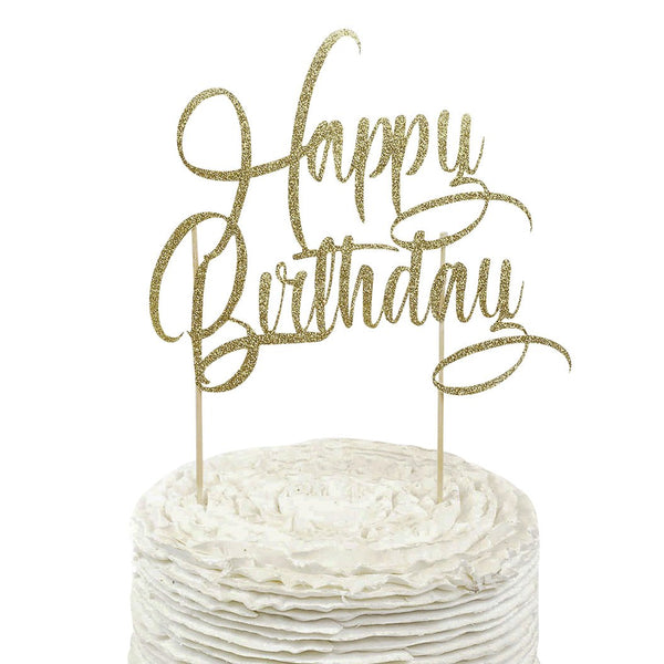 Gold 'Happy Birthday' Cake Topper, Cake & Cupcake Toppers, Jamboree