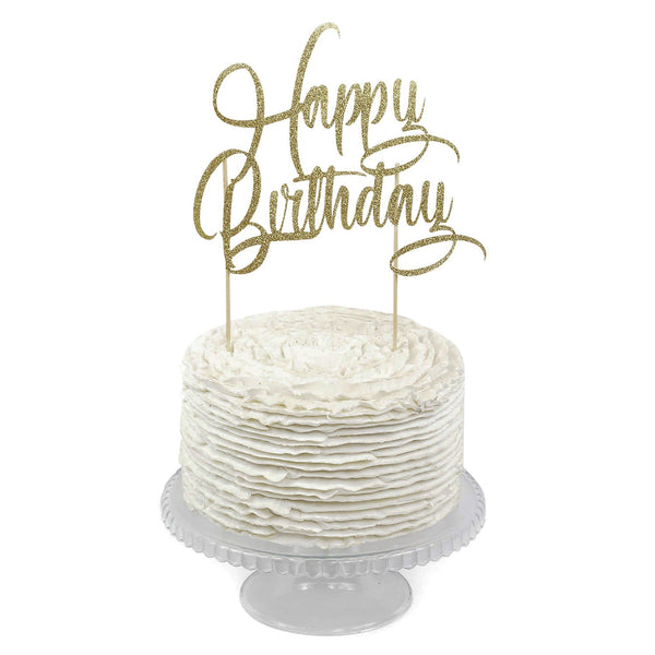 Gold 'Happy Birthday' Cake Topper