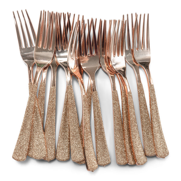 Rose Gold Glittered Rose Gold Fork, Tableware, Jamboree