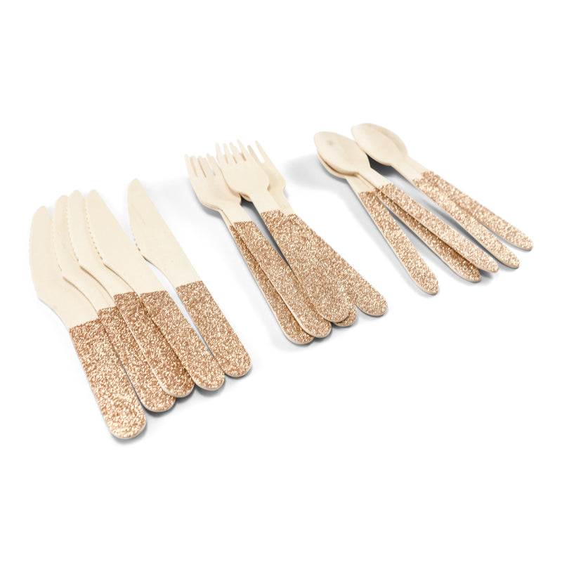 Rose Gold Glittered Wood Fork, Tableware, Jamboree