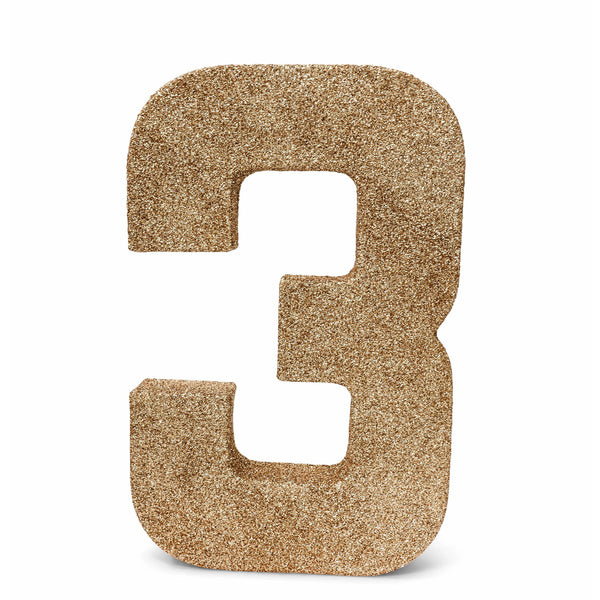 "8"" Rose Gold Glitter Number 3, Large Glitter Numbers, Jamboree"