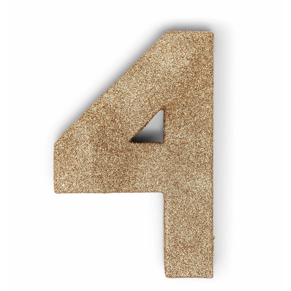 "8"" Rose Gold Glitter Number 4, Large Glitter Numbers, Jamboree"