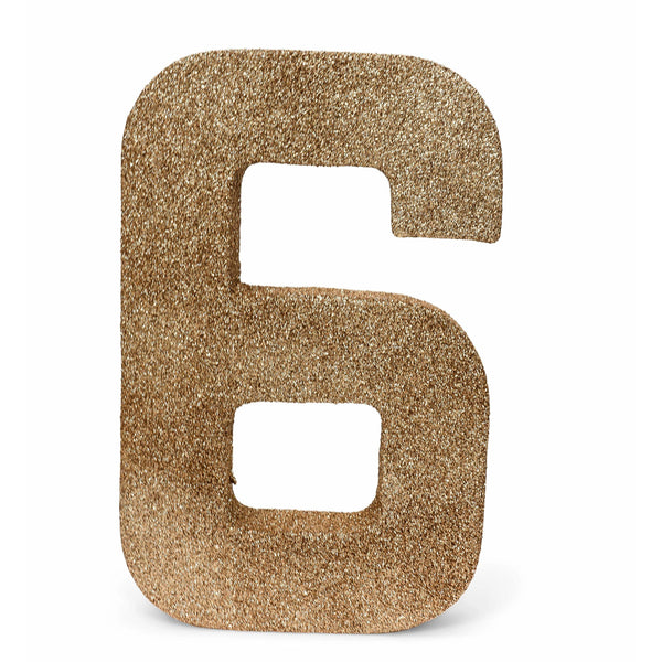 "8"" Rose Gold Glitter Number 6, Large Glitter Numbers, Jamboree"