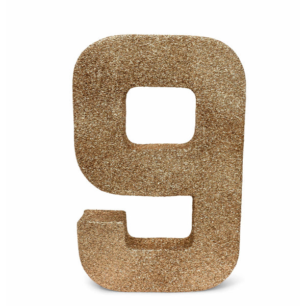 "8"" Rose Gold Glitter Number 9, Large Glitter Numbers, Jamboree"