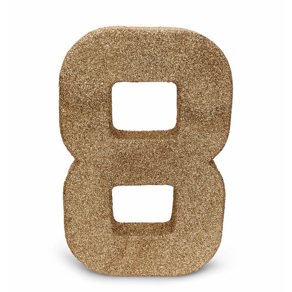 "8"" Rose Gold Glitter Number 8, Large Glitter Numbers, Jamboree"