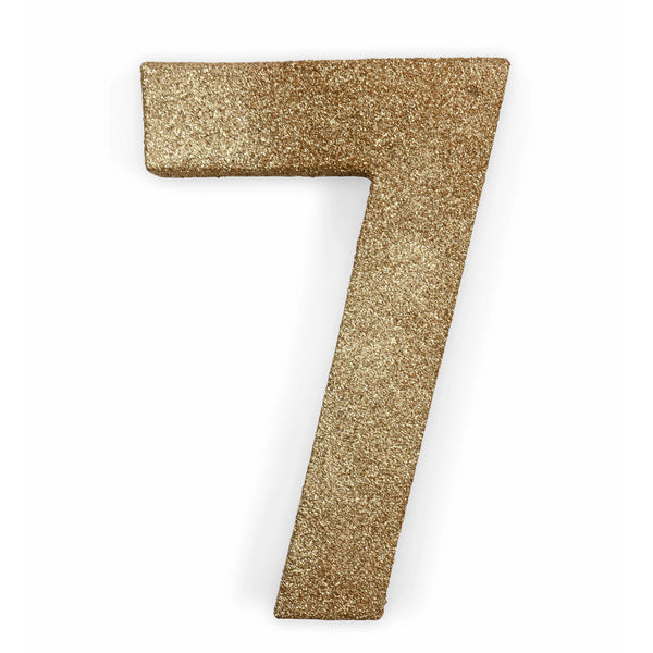 "8"" Rose Gold Glitter Number 7, Large Glitter Numbers, Jamboree"