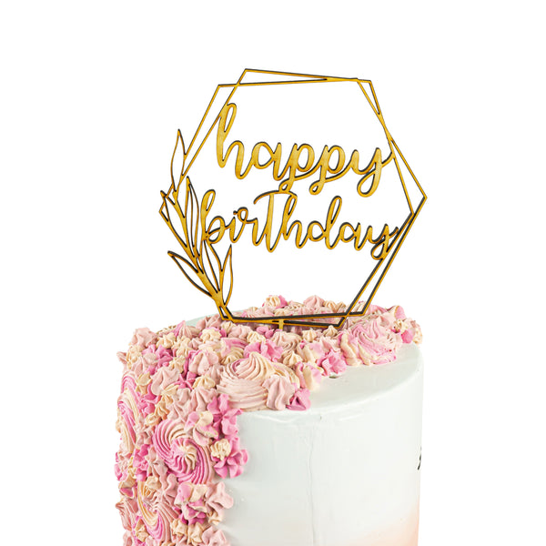 Happy Birthday Script Geometric Wood Cake Topper, , Jamboree