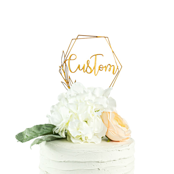 Custom Geometric Wood Cake Topper, , Jamboree