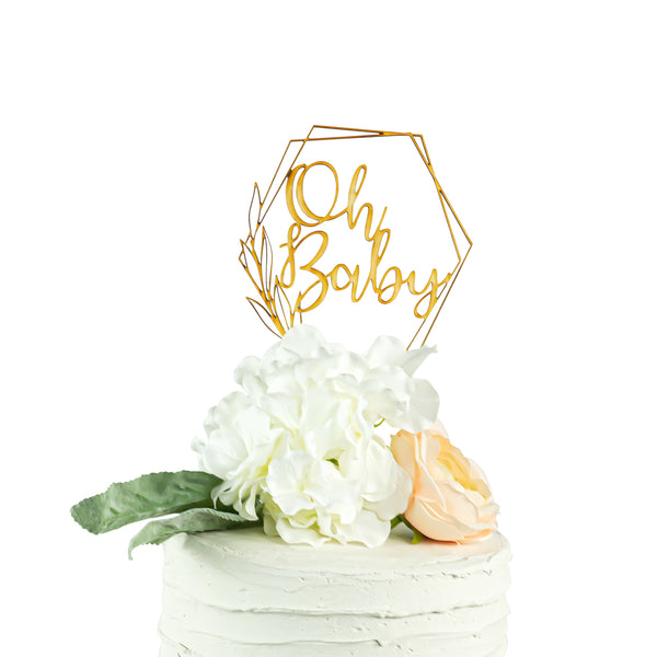 Oh Baby Script Geometric Wreath Frame Wood Cake Topper- Raw Wood Baby Shower Cake Topper-Floral Geometric Baby Shower Topper Frame-, , Jamboree
