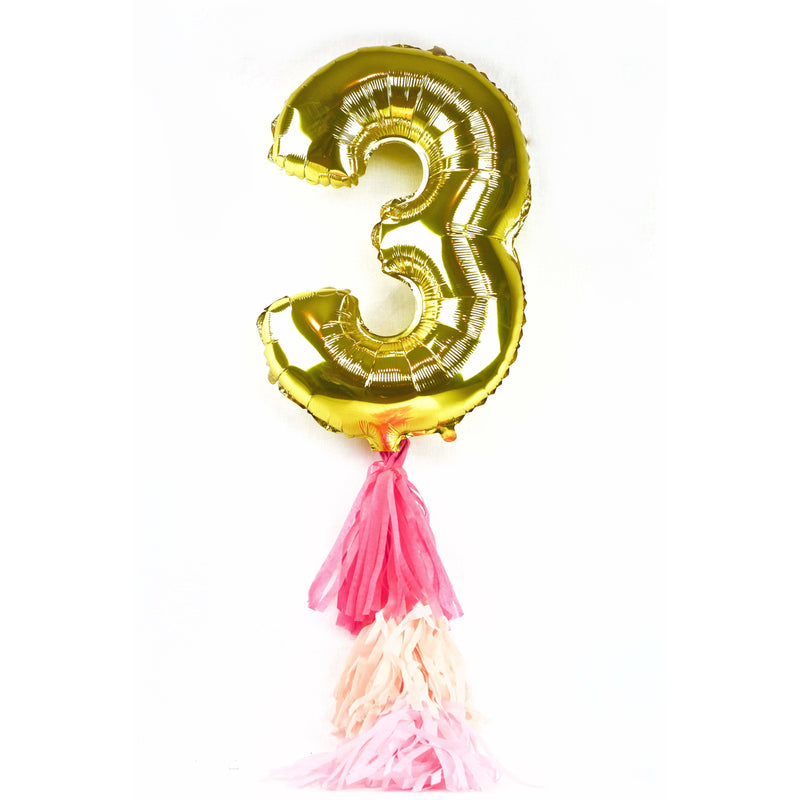 "40"" Gold Number 3 Balloon, Number Balloons, Jamboree Party Box, Jamboree"