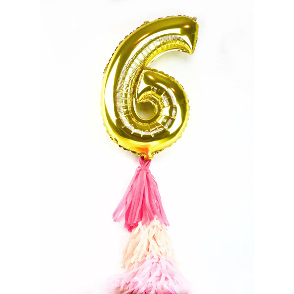 "40"" Gold Number 6 Balloon, Number Balloons, Jamboree"