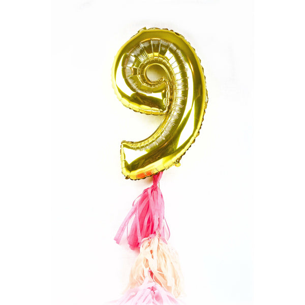 "40"" Gold Number 9 Balloon, Number Balloons, Jamboree"