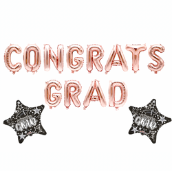 "16"" Rose Gold ""Congrats Grad"" Balloon Banner"