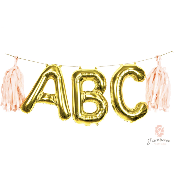 "16"" Custom Gold Balloon Banner, Decorative Balloons, Jamboree"