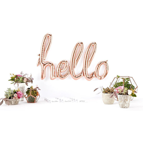 Banners & Backdrops - Giant Rose Gold 'HELLO' Script Balloon