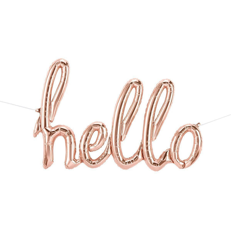 "Rose Gold 47"" 'hello' Script Balloon, Banners & Backdrops, Jamboree"