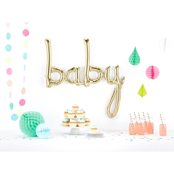 Giant White Gold 'baby' Script Balloon, Banners & Backdrops, Jamboree