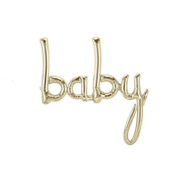 Banners & Backdrops - Giant White Gold 'Baby' Script Balloon