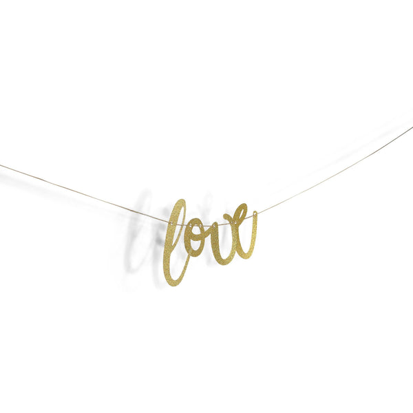 "Gold ""Love"" Glitter Script Banner, Banners & Backdrops, Jamboree"