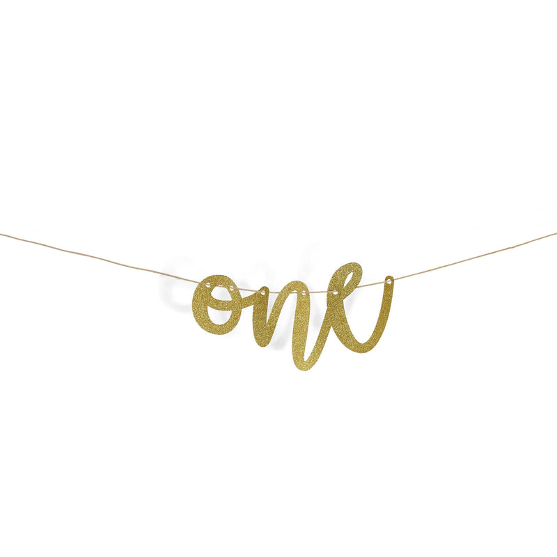 "Gold ""One"" Glitter Script Banner, Banners & Backdrops, Jamboree"