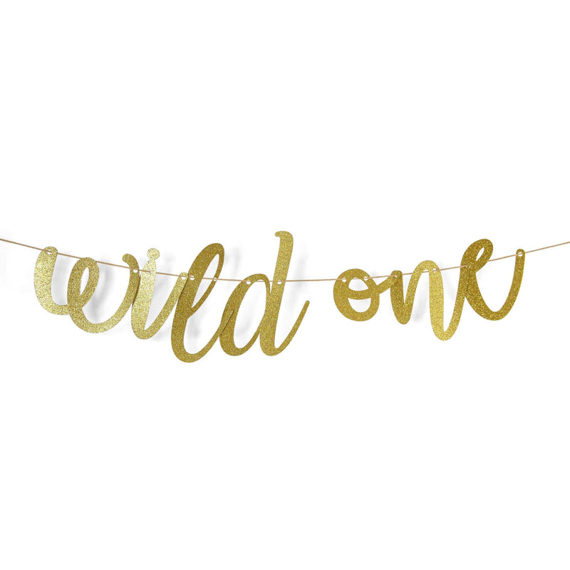 "Gold ""Wild One"" Glitter Script Banner, Banners & Backdrops, Jamboree"