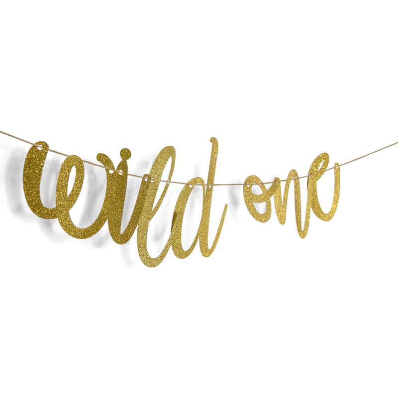 "Banners & Backdrops - Gold ""Wild One"" Glitter Script Paper Banner"