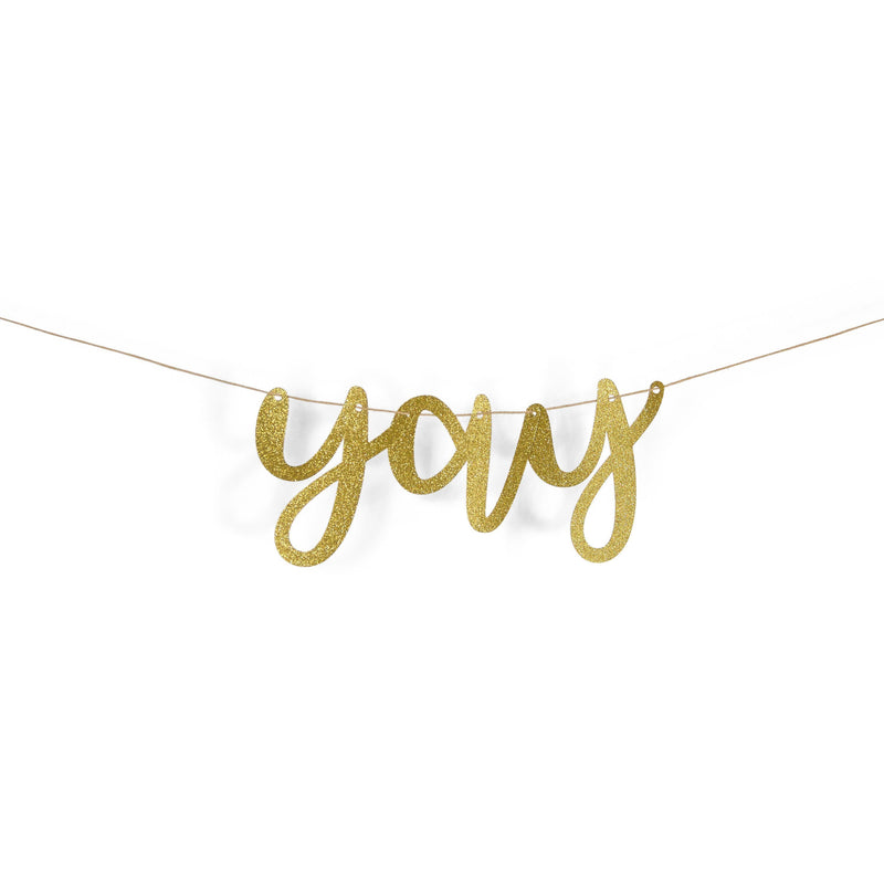"Banners & Backdrops - Gold ""Yay"" Glitter Script Paper Banner"
