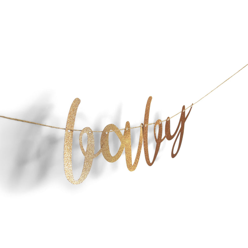 "Banners & Backdrops - Rose Gold ""Baby"" Glitter Script Banner"