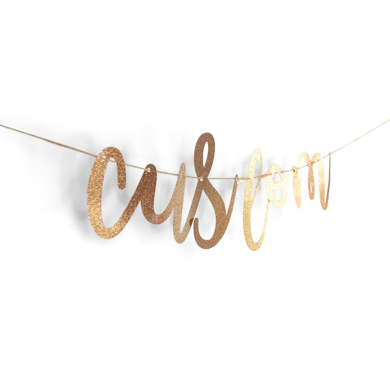 Rose Gold Custom Glitter Script Banner, Banners & Backdrops, Jamboree