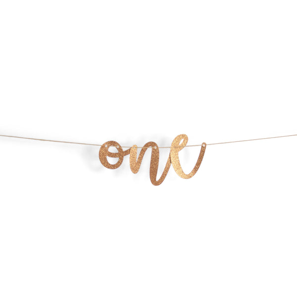 "Banners & Backdrops - Rose Gold ""One"" Glitter Script Banner"