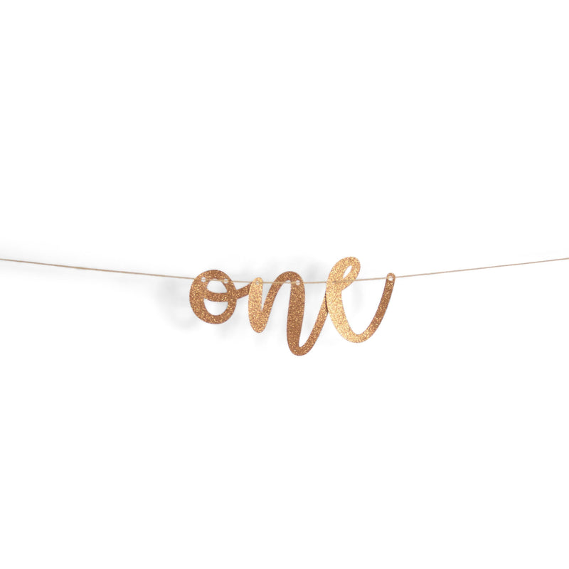 "Rose Gold ""One"" Glitter Script Banner, Banners & Backdrops, Jamboree"