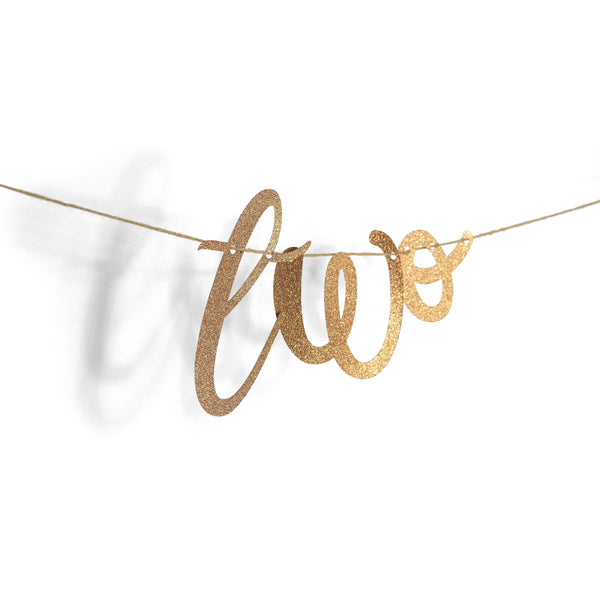 "Banners & Backdrops - Rose Gold ""Two"" Glitter Script Banner"
