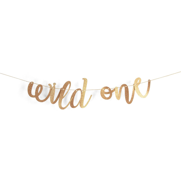 "Rose Gold ""Wild One"" Glitter Script Banner, Banners & Backdrops, Jamboree"