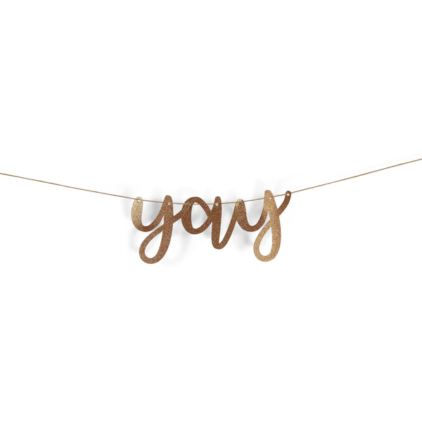 "Banners & Backdrops - Rose Gold ""Yay"" Glitter Script Banner"
