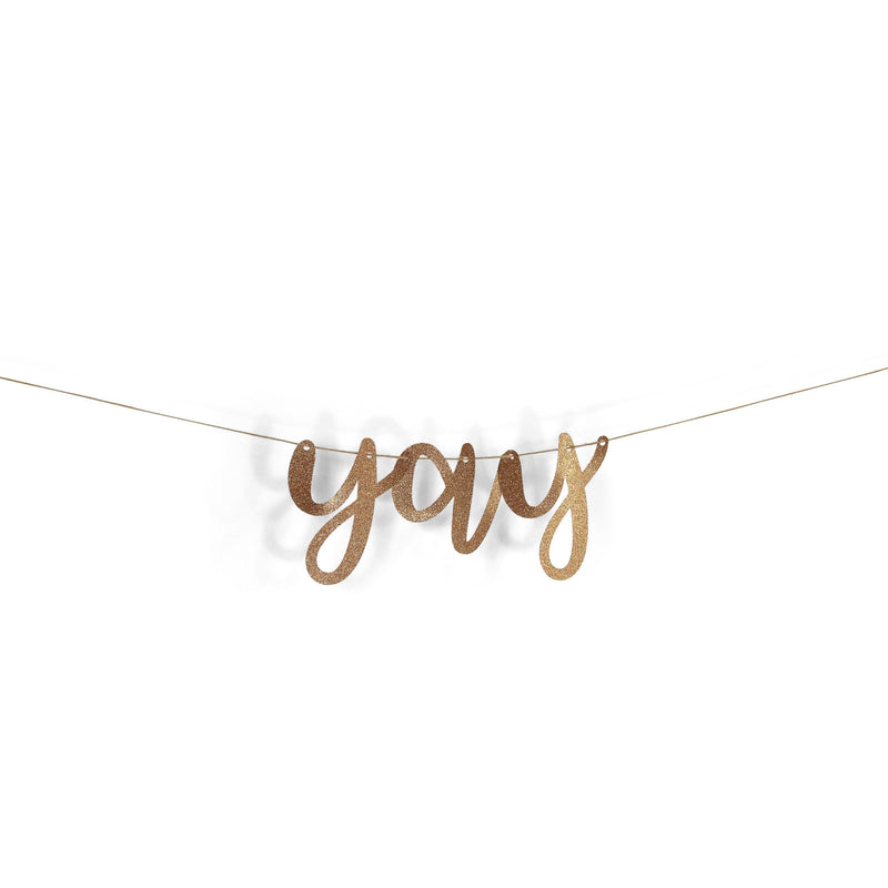 "Rose Gold ""Yay"" Glitter Script Banner, Banners & Backdrops, Jamboree"