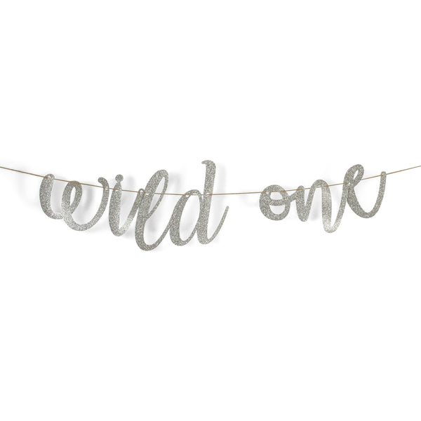 "Banners & Backdrops - Silver ""Wild One"" Glitter Script Banner"