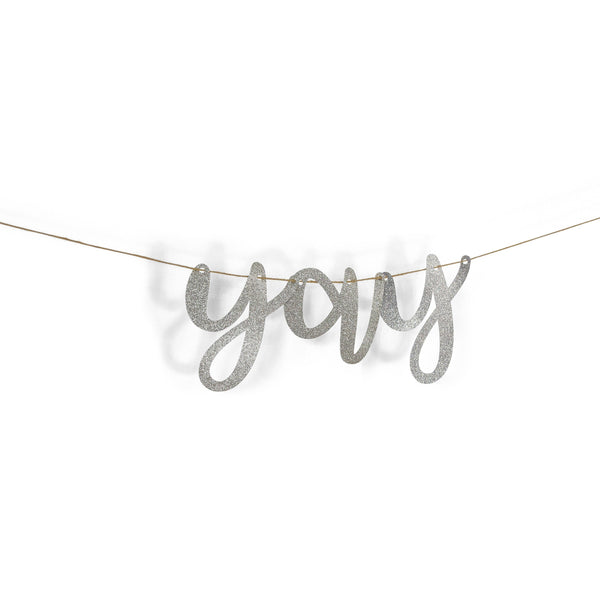 "Banners & Backdrops - Silver ""Yay"" Glitter Script Banner"