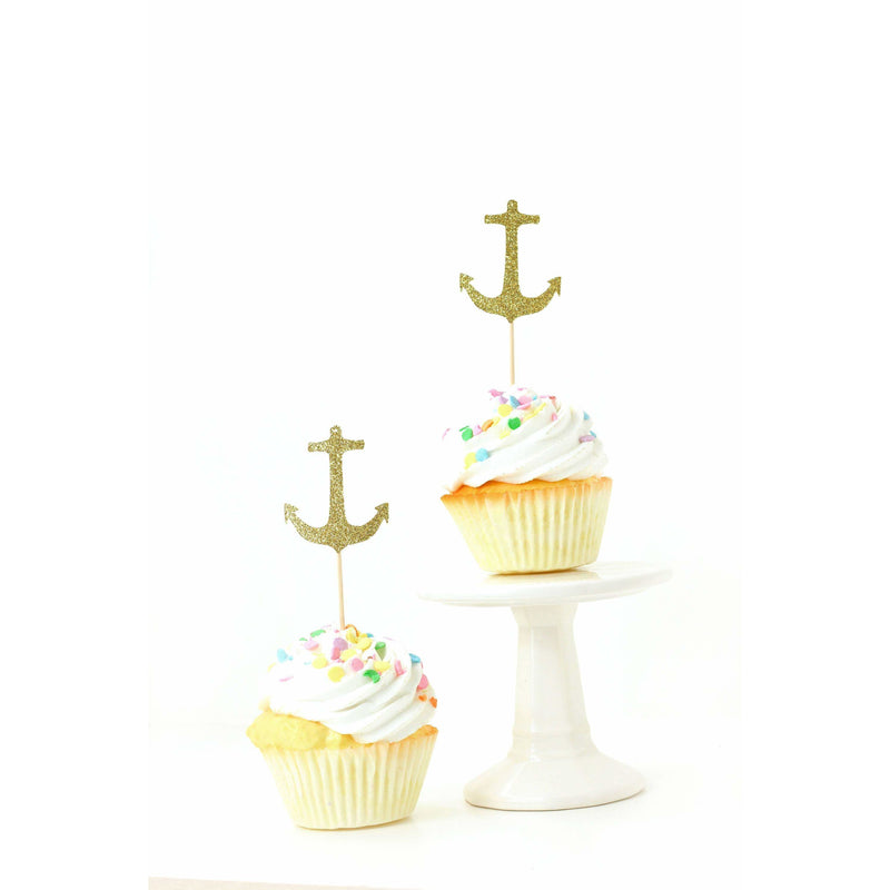 Anchor Gold Glitter Cupcake Toppers, Cake & Cupcake Toppers, Jamboree